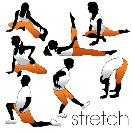 Stretch aerobics silhouettes set Stock Vector - 9903983