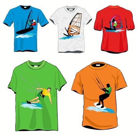 kite surf: Surf t-shirts set