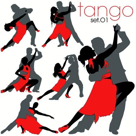 tango: Tango dancers silhouettes set