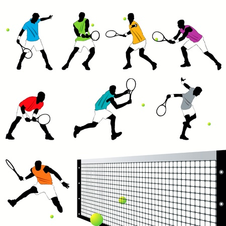 girl tennis: Tennis players silhouettes set Illustration