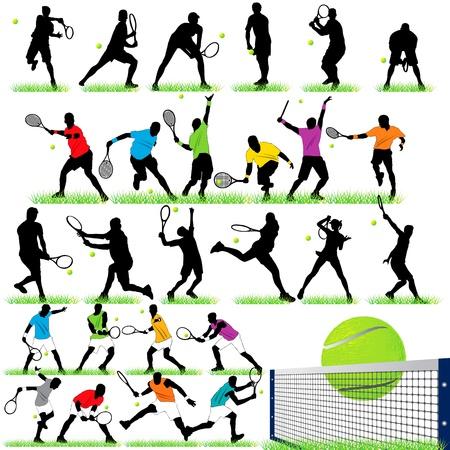 Conjunto de siluetas de jugadores de tenis