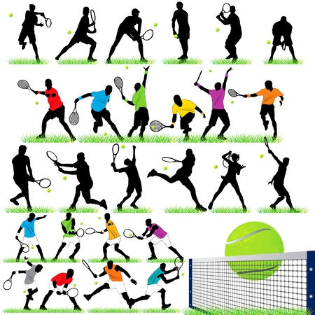 Tennis players silhouettes set Vector