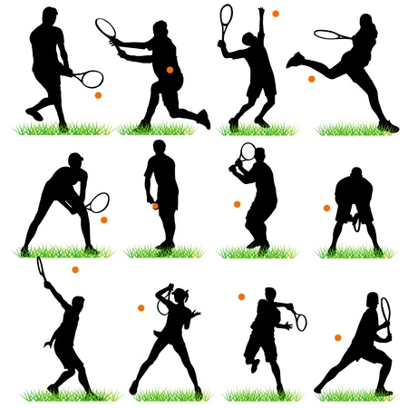 tennis serve: Tennis players silhouettes set Illustration