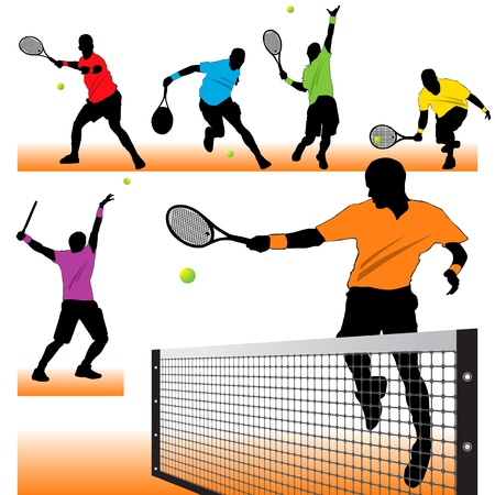 tennis girl: Tennis players silhouettes set Illustration