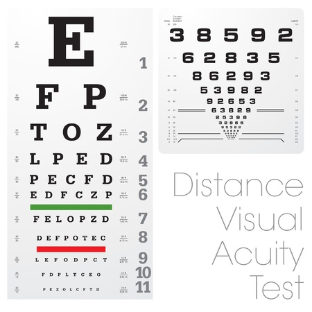 sight: Distance visual acuity test Illustration