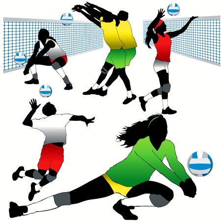 Volleyball players silhouettes set Stock Vector - 9903999