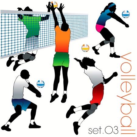 voleibol: Conjunto de siluetas de jugadores de voleibol