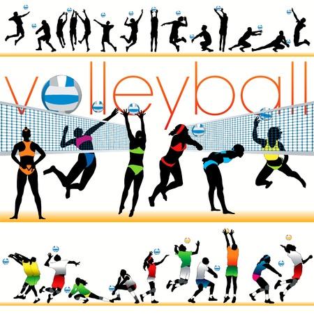 pallavolo: Set di sagome giocatori pallavolo