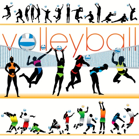Volleybal spelers silhouetten set Stock Illustratie