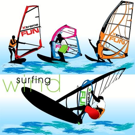 Windsurf silhouettes set Vector