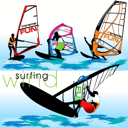 wind surfing: Windsurf silhouettes set