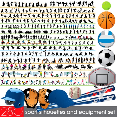 crickets: 280 sport silhouettes and equipment set Illustration