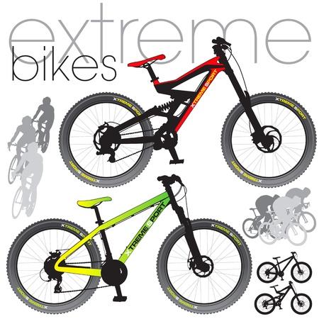 Las bicicletas de montaña establece Ilustración de vector