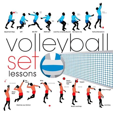 Conjunto de siluetas de jugadores de voleibol Foto de archivo - 9903947