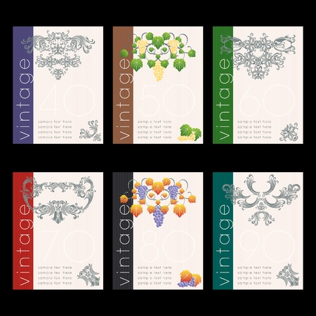 food and wine: Wine labels design set