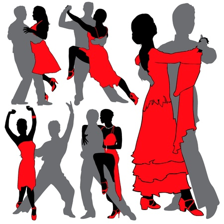 sexual couple: Latino Dancers Silhouettes Set Illustration