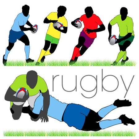rugby player: Rugby Players Silhouettes Set