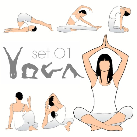 Yoga Exercises Silhouettes Set Vector
