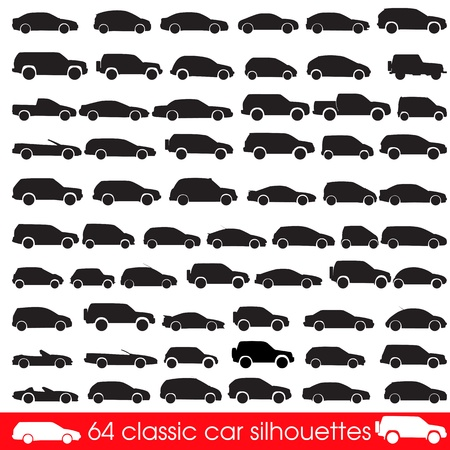 64 Classic Cars Silhouettes Vector
