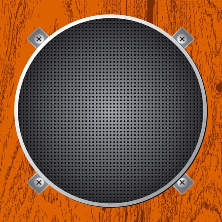 Audio Speaker on the Wood Vector