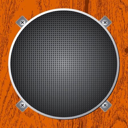 Audio Speaker on the Wood Vector