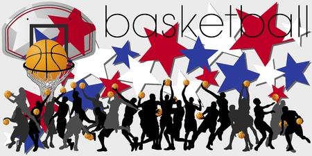 slam dunk: Basketball Players Silhouettes Set