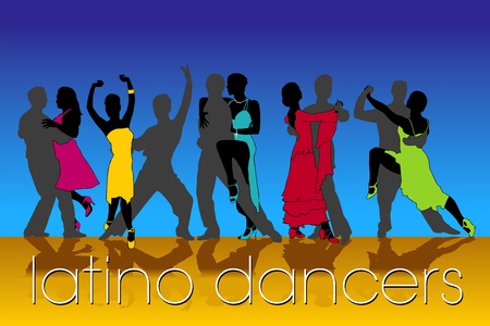 Latino Dancers Silhouettes Set Vector
