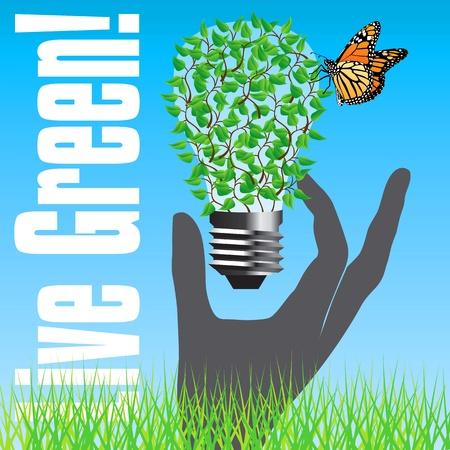 save electricity: Live Green Poster Illustration