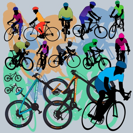 Mountain Bikes and Cyclists Set Vector