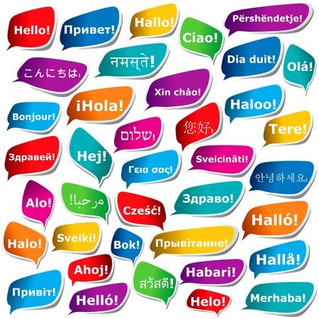 38 Möglichkeiten um Hallo zu sagen Vektorgrafik