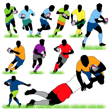 12 Rugby Silhouettes Set Vector