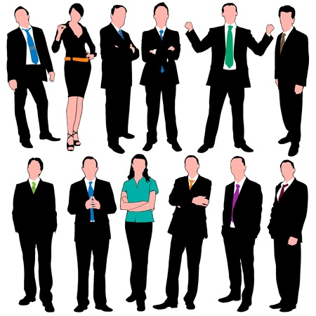 12 business people silhouettes Vector