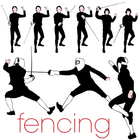 Fencing Silhouettes Set Vector