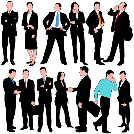 13 business people silhouettes Vector