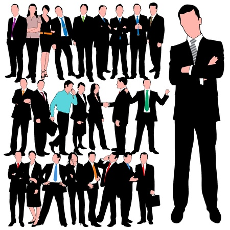 25 business people silhouettes Vector