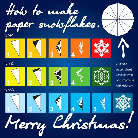 How to make paper snowflakes Vector