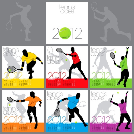 Tennis Aces 2012 Calendar Template Vector