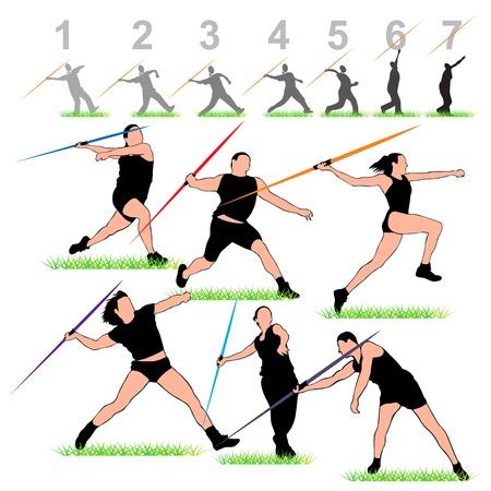 lanzamiento de jabalina: Los atletas Javeline Silhouettes Set