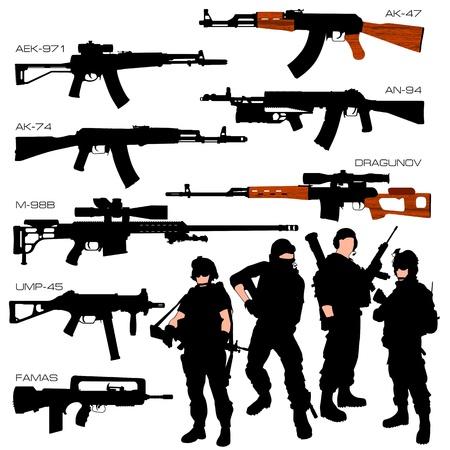 Stel automatische wapens Vector Illustratie