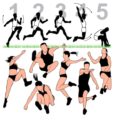 track and field: Long Jump Silhouettes Set