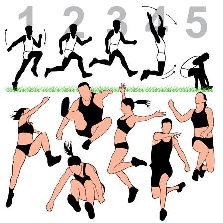 salto largo: Siluetas de salto de longitud Establecer Vectores