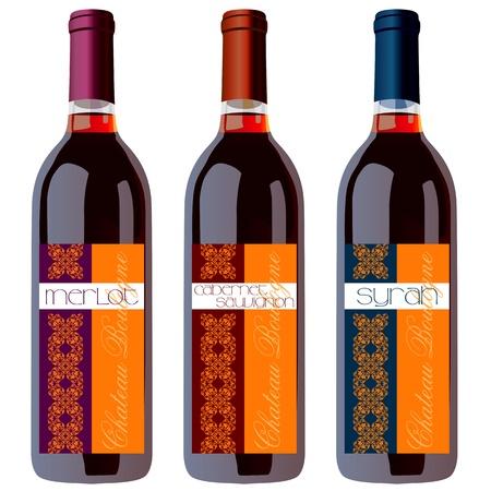 Botellas de vino Juego con Vintage etiquetas