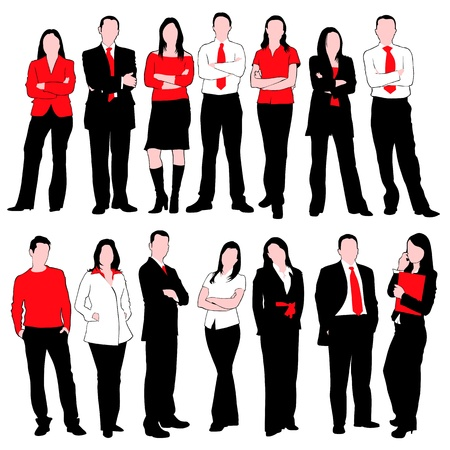 people isolated: Business People Silhouettes Set isolated on white background Illustration