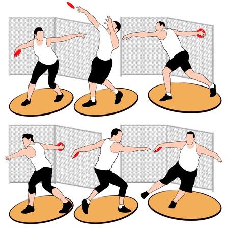 venue: Set di atleti lancio del disco isolato su sfondo bianco Vettoriali