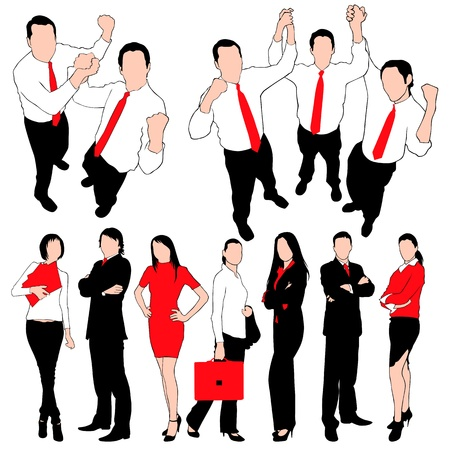 business people walking: Business People Silhouettes Set isolated on white background Illustration