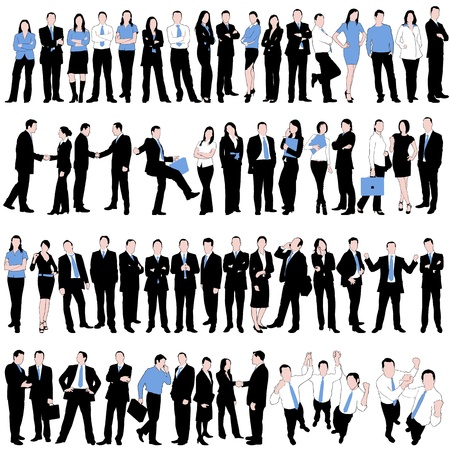 handsome young man: 60 Business People Silhouettes Set isolated on white background