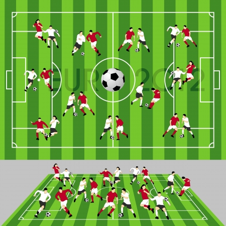 Football Field with Ball and Players Vector