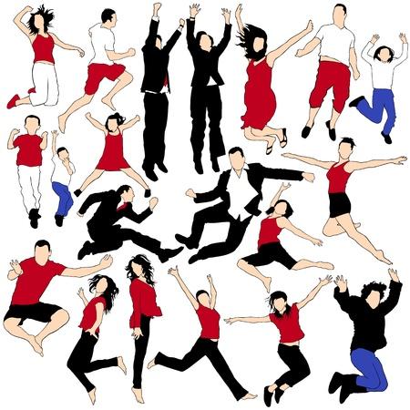 salto largo: 20 Jumping People Silhouettes