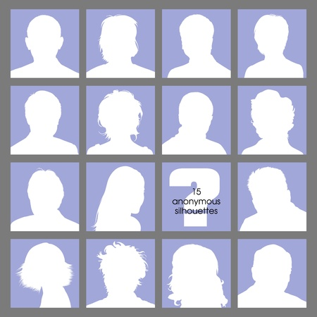 focus on shadow: Social Networks Anonymous Avatars Illustration