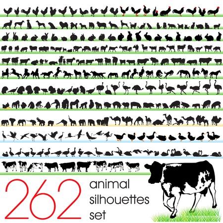 262 siluetas de animales establecido Ilustración de vector